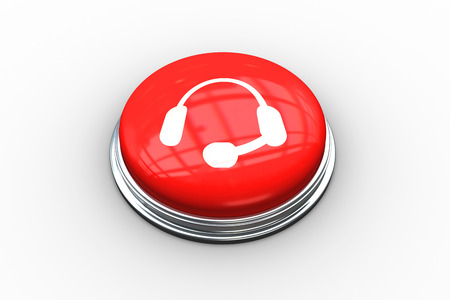 composite image: Composite image of headset graphic on digitally generated red push button Stock Photo