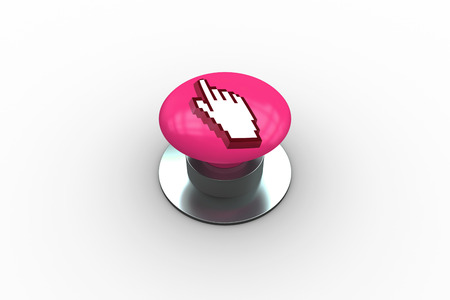 composite image: Composite image of hand icon graphic on pink push button