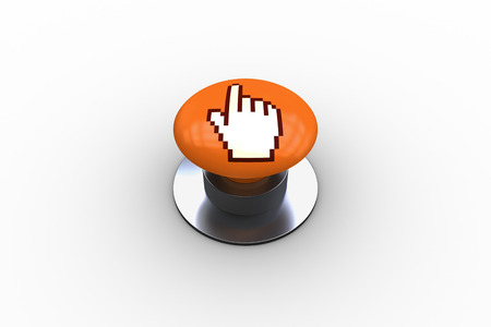 composite image: Composite image of hand icon graphic on orange push button