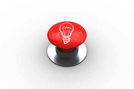 composite image: Composite image of light bulb graphic on digitally generated red push button