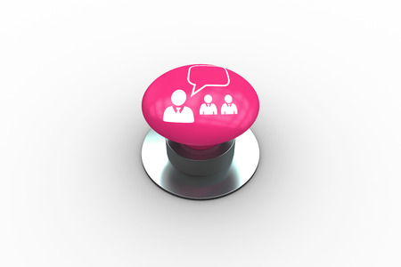 Composite image of manager speaking to staff graphic on pink push button photo