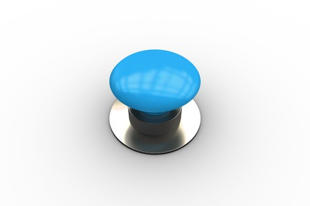 Digitally generated shiny blue push button on white background photo