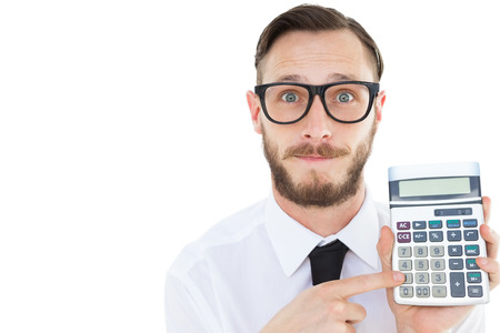 geeky: Geeky businessman pointing to calculator on white background