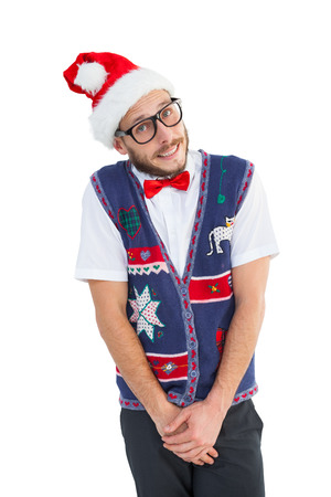 Geeky hipster in santa hat on white background photo