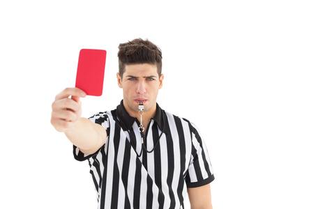 Stern scheidsrechter met rode kaart op witte achtergrond Stockfoto