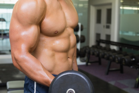 Mid section of shirtless young muscular man exercising with dumbbell in gym photo