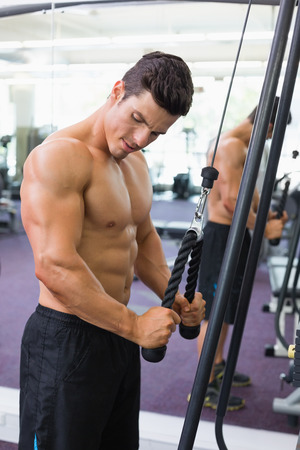 Side view of a shirtless young muscular man using triceps pull down in gym Stock Photo