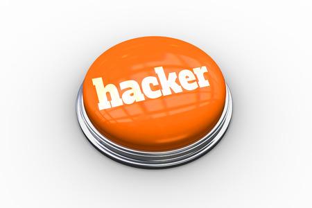 The word hacker on shiny orange push button on white background photo