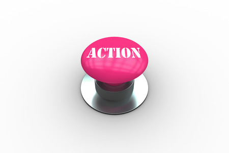 The word action on pink push button on white background photo