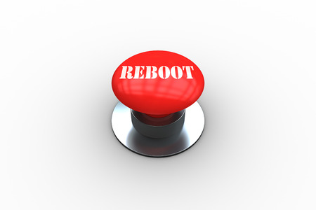 The word reboot on digitally generated red push button on white background Stock Photo