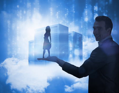Smiling blonde turning against data servers held by giant businessman resting on clouds in blue photo
