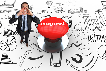 The word connect and shouting businessman against digitally generated red push button photo