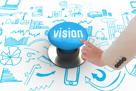 The word vision and businesswoman pointing against blue push button photo