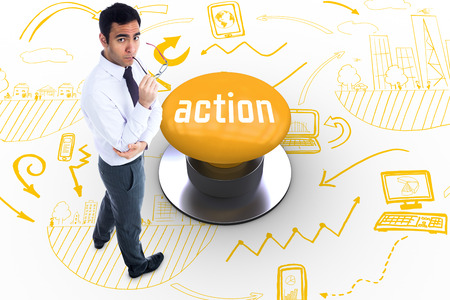 action plan: The word action and unsmiling businessman holding glasses against yellow push button