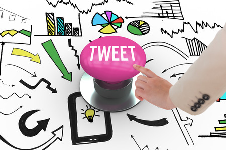 tweet: The word tweet and businesswoman pointing against pink push button Stock Photo