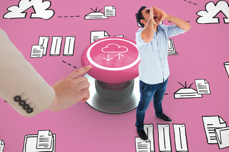 Shouting casual man standing against pink graphic background photo