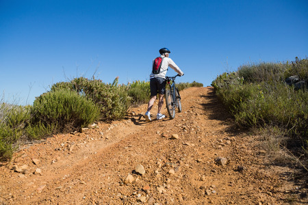 Fit cyclist pushing bike uphill on country terrain on a sunny day Stock Photo