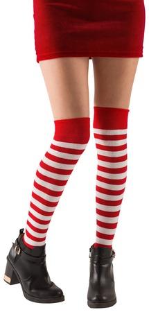 pere noel sexy: Santa girl porter des chaussettes de stripey sur fond blanc