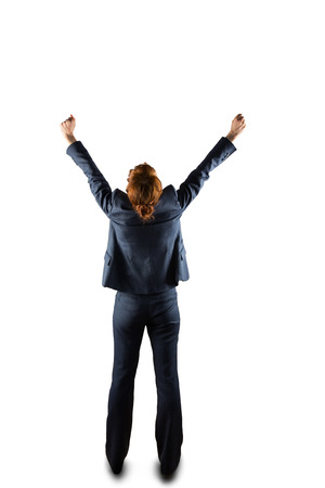 sucessful: Sucessful businesswoman in suit cheering on white background Stock Photo