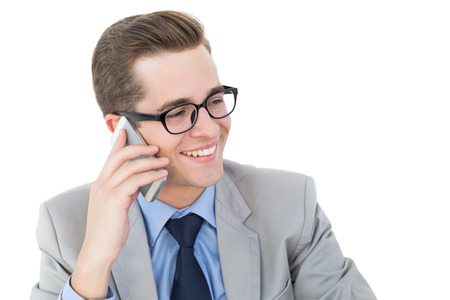cut out device: Nerdy businessman on a phone call on white background