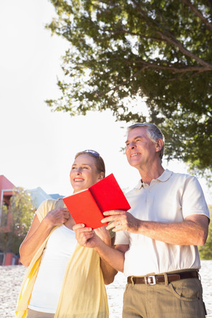 guidebook: Happy senior couple using the guidebook on a sunny day Stock Photo