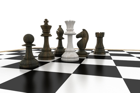 tactical: White queen surrounded by black pieces on white background Stock Photo