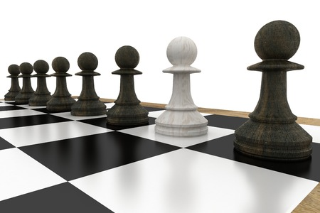 traitor: White pawn defecting to black side on white background