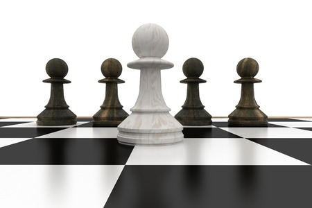 White pawn in front of black pawns on white background Stock Photo