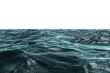 Digitaal gegenereerde Blue ruwe oceaan op een witte achtergrond Stockfoto