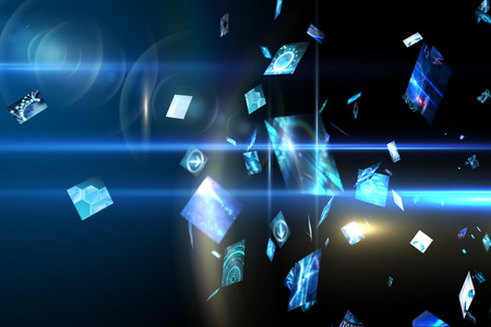 dispersed: Digitally generated Floating digital screens in blue