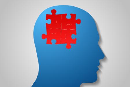 digitally  generated: Digitally generated Red jigsaw on blue head