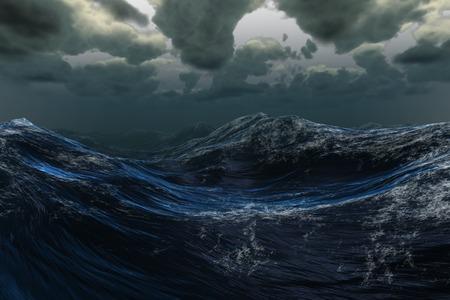 暗い空の下でデジタル生成の嵐の海