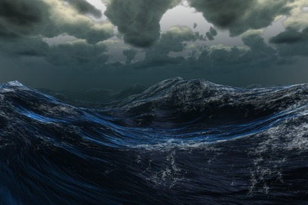 Digitally generated stormy sea under dark sky