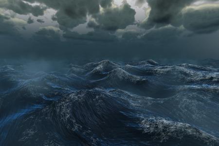 storm cloud: Digitally generated rough stormy ocean under dark sky Stock Photo
