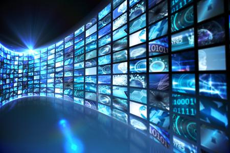 digitally  generated: Digitally generated Curve of digital screens in blue
