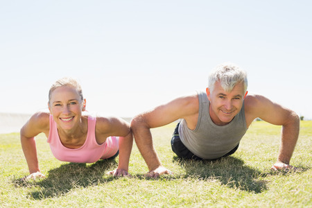 health fair: Fit mature couple warming up on the grass on a sunny day Stock Photo