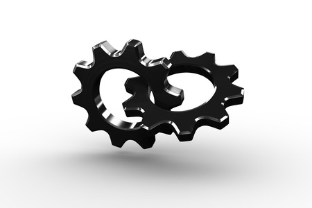 linking: Linking chrome cog and wheel on white background