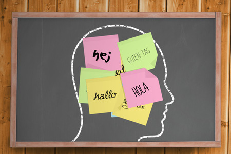 hola: Digitally generated Chalk head with hello sticky notes
