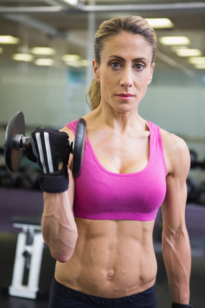 Portrait of a fit young woman exercising with dumbbell in the gym