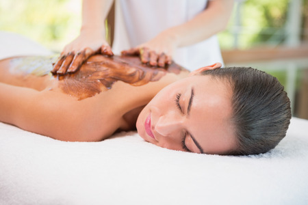 Side view of an attractive young woman receiving chocolate back mask at spa center photo