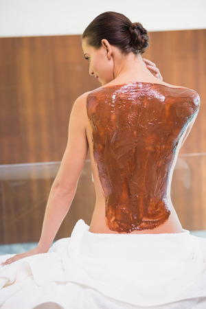 Rear view of an attractive young woman with chocolate back mask at spa center photo