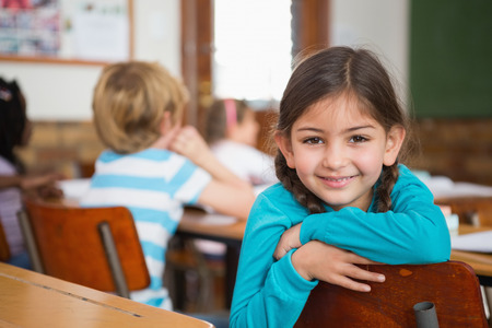 Smiling pupil sitting at her desk at the elementary school photo
