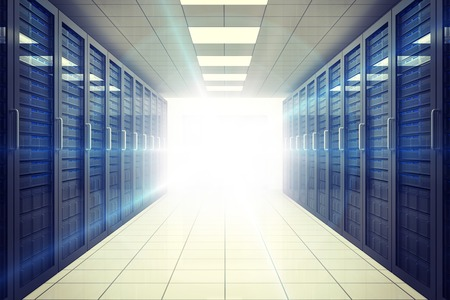copy center: Digitally generated server room with towers and light