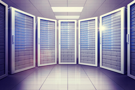 servers: Digitally generated server room with many towers Stock Photo