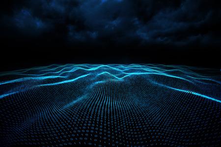 Digitally generated binary code landscape on black background Stock Photo