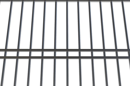 interned: Digitally generated metal prison bars on white background