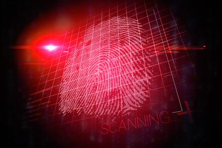 thumbprint: Red technology hand print design on black background Stock Photo