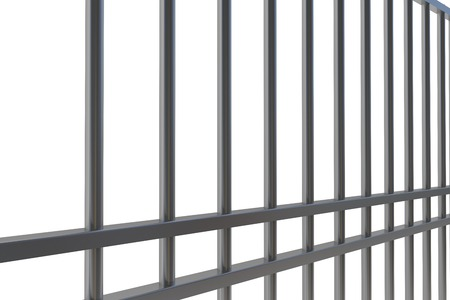 behind bars: Digitally generated metal prison bars on white background