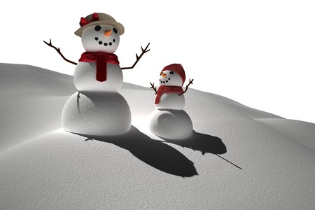 digitally  generated: Digitally generated white snow people Stock Photo