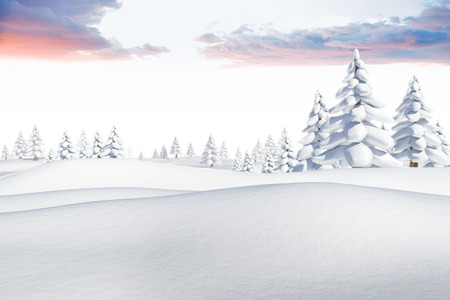 digitally  generated: Digitally generated snowy landscape with fir trees